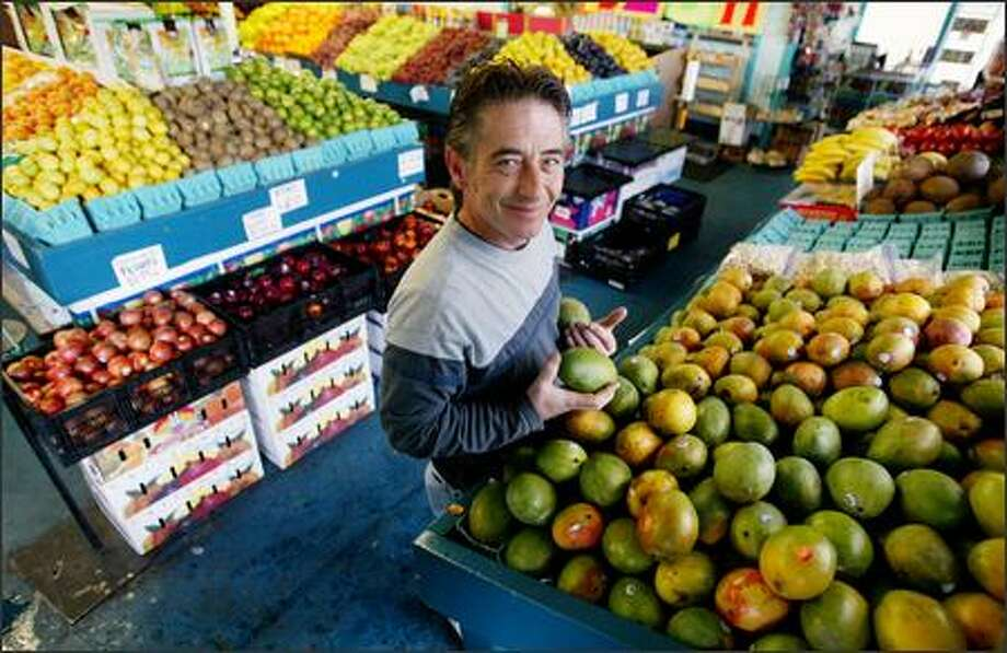 Jimmy Wild owns Ballard independent produce store Top Banana, which got its name because he wanted something catchy that included fruit. Photo: Paul Joseph Brown/Seattle Post-Intelligencer
