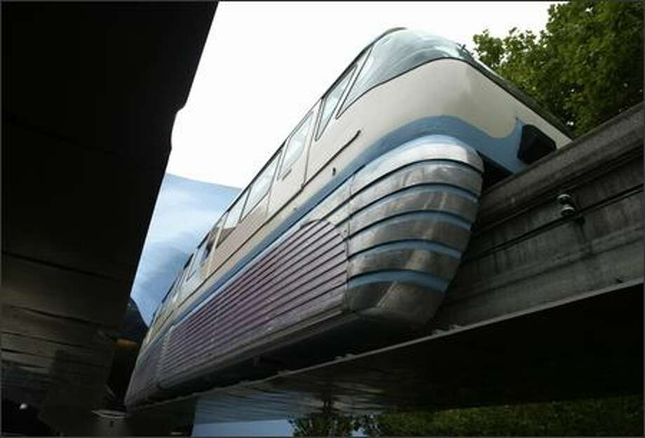 Fully repaired, the Seattle Center Monorail resumed normal service Friday. Photo: Gilbert W. Arias/Seattle Post-Intelligencer