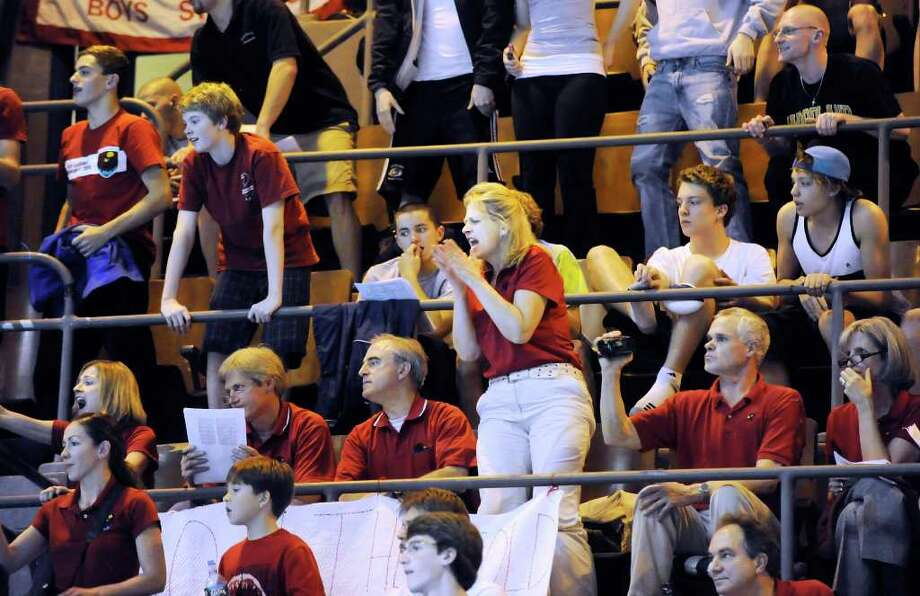 The GHS cheering section during the State Open Swimming Championships at Yale University, New Haven, Conn., Saturday afternoon, March 19, 2011. Photo: Bob Luckey / Greenwich Time