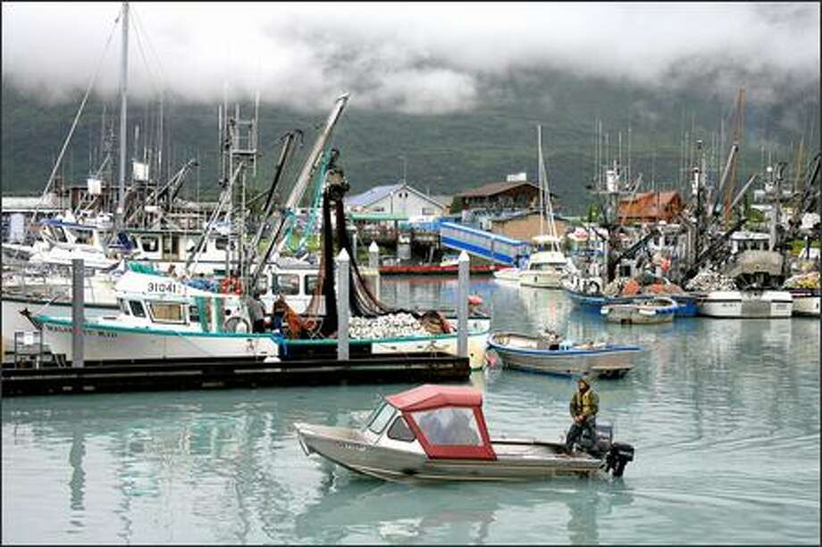 A boat motors out of the harbor in Valdez, Alaska, past docks with commercial fishing boats mixed in with personal boats. Photo: / Associated Press