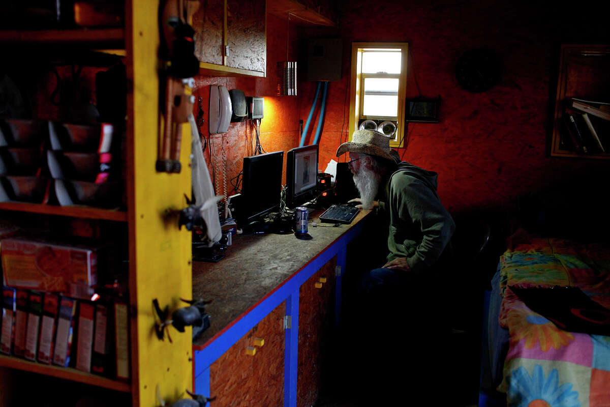 """John Wells blogs about the day's events from his Terlingua house. He moved there three years ago from upstate New York and his blog, """"The Field Lab,"""" chronicles his life without electricity or running water."""