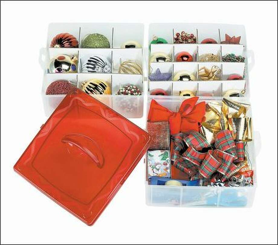 Storage containers with dividers can keep ornaments from getting broken. Separate boxes for bows streamline gift-wrapping. Photo: /
