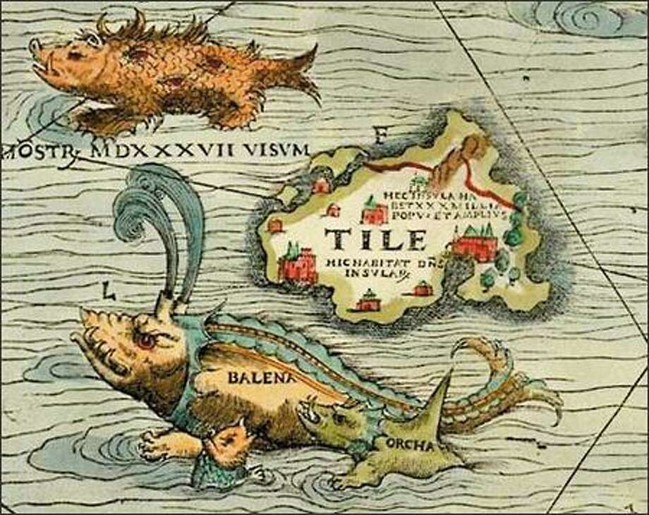 """This mythologized orca (labeled """"orcha"""") with tusks and dragonlike features attacks a baleen whale on a portion of the Carta Marina, a map of Scandinavia drawn by Olaus Magnus and first published in 1539. (JAMES FORD BELL LIBRARY, UNIVERSITY OF MINNESOTA) Photo: /"""