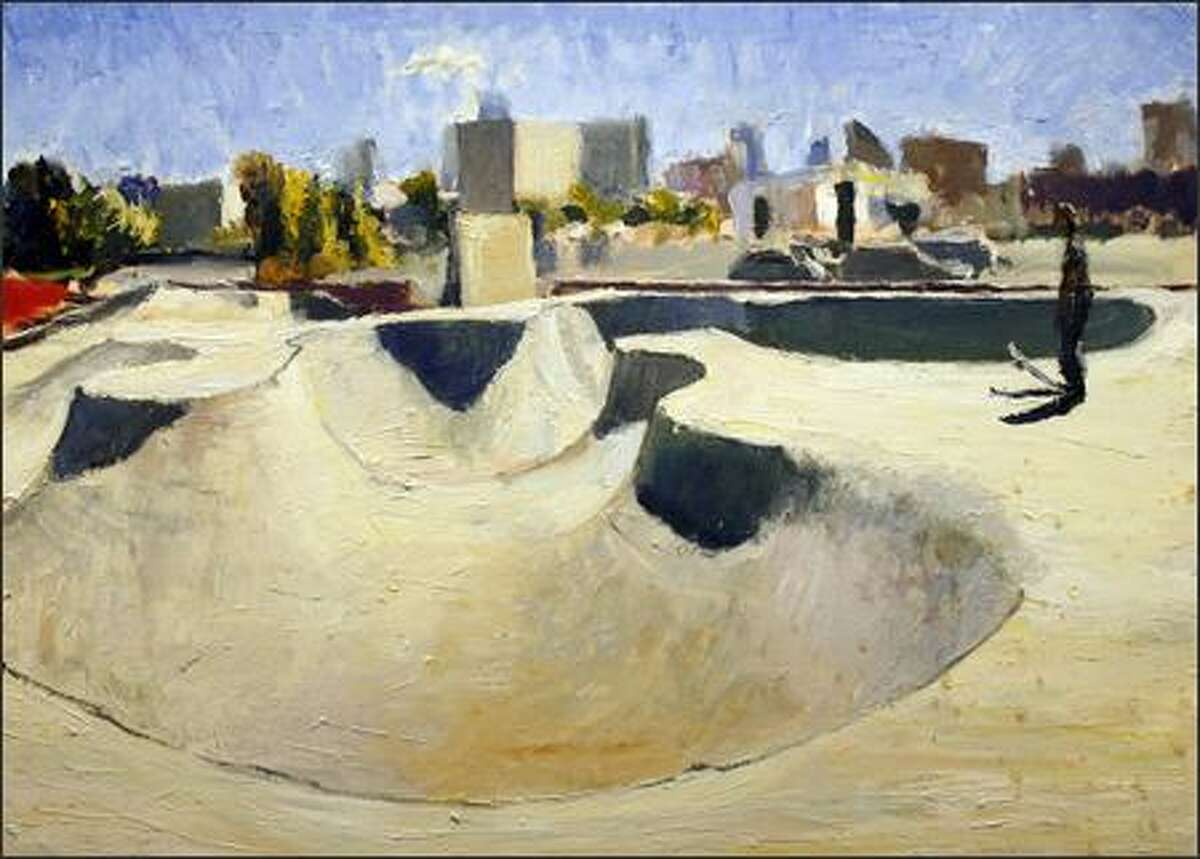Edwards' painting of the Seattle Center skate park. The tonalities are cold, but the mood is tender.
