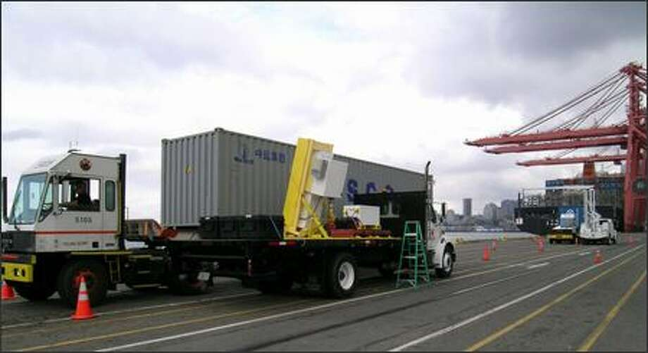 Researchers use a truck-mounted radiation monitor to collect data from cargo entering the Port of Seattle. The data will be used to develop a computerized virtual container cargo ship. Photo: Pacific Northwest National Laboratory