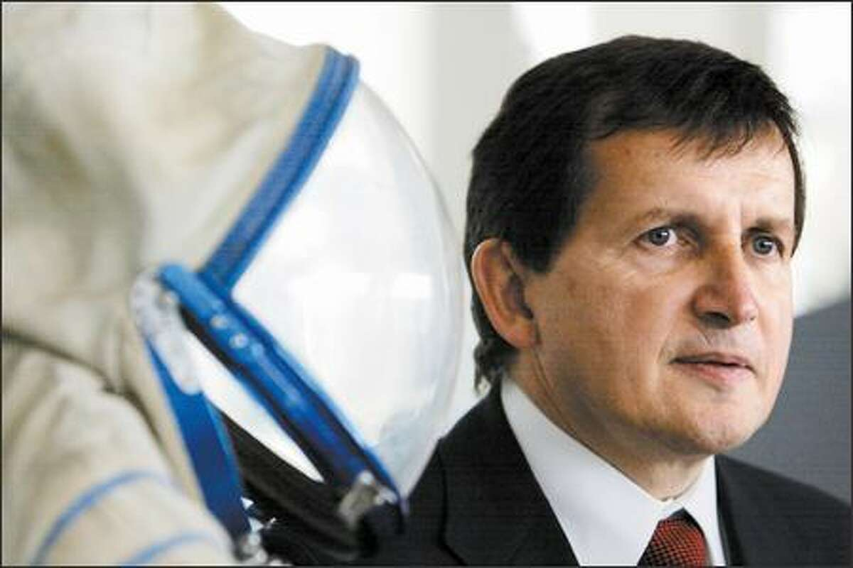 Billionaire Charles Simonyi announces his March trip to the International Space Station at the Museum of Flight in Seattle on Thursday.