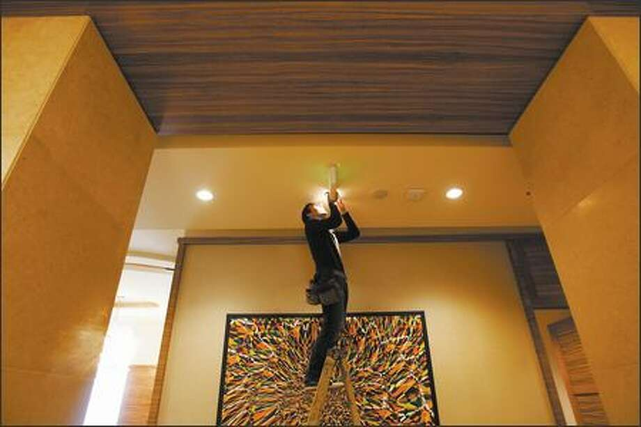 Art installer Tim Purtill of Atomic Arts Services adjusts a light that will illuminate a Michael Knutson painting in the lobby of the new Pan Pacific Hotel at the 2200 Westlake complex in Seattle Thursday, November 2 , 2006. (PHOTO MIKE KANE/ PI STAFF) Photo: Mike Kane/P-I