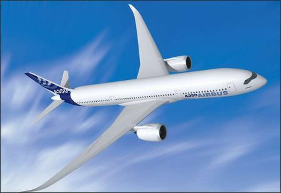 Airbus might propose a composite fuselage for its A350, shown in an artist's rendering, to better compete with Boeing's 787. Photo: / Airbus