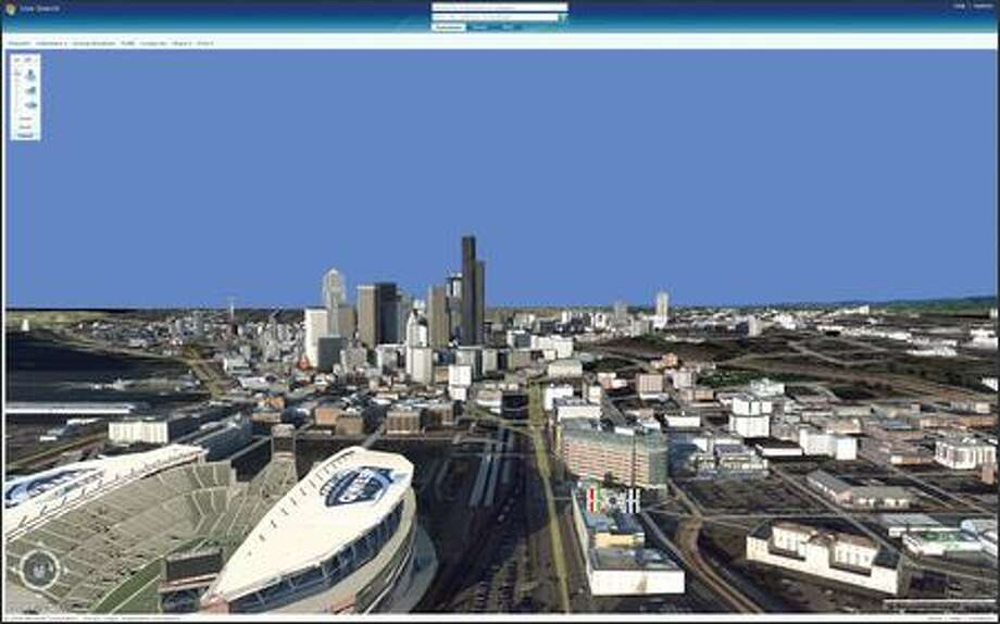 An image of Seattle from the new Virtual Earth 3D feature in Microsoft's Live Search engine. Photo: / Microsoft