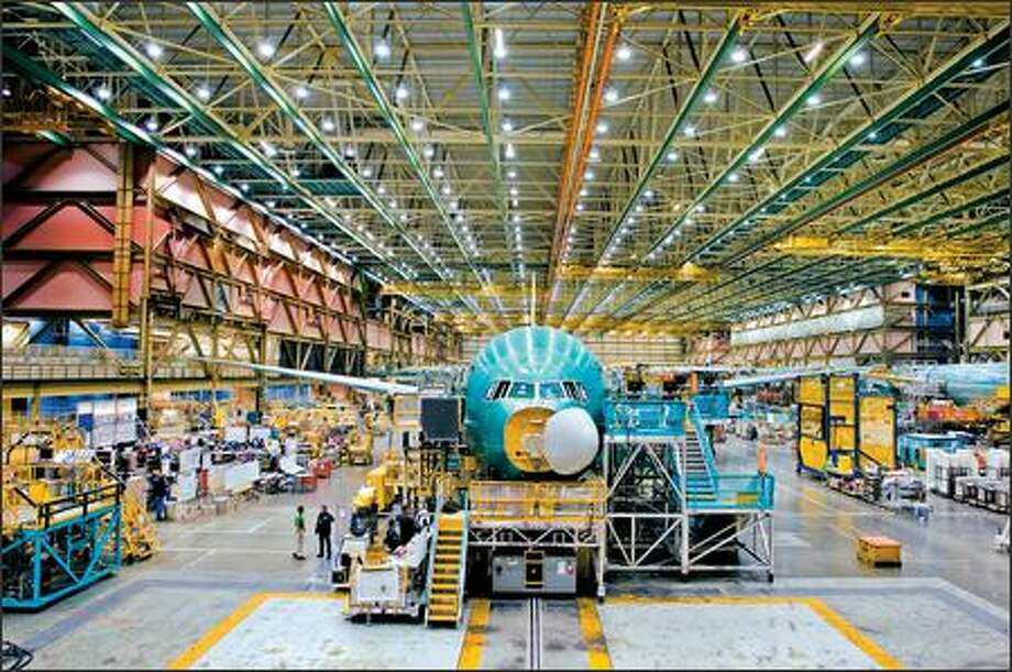 By more efficiently controlling how it assembles the 777 at its factory in Everett, Boeing becomes more competitive against Airbus. Photo: / The Boeing Company