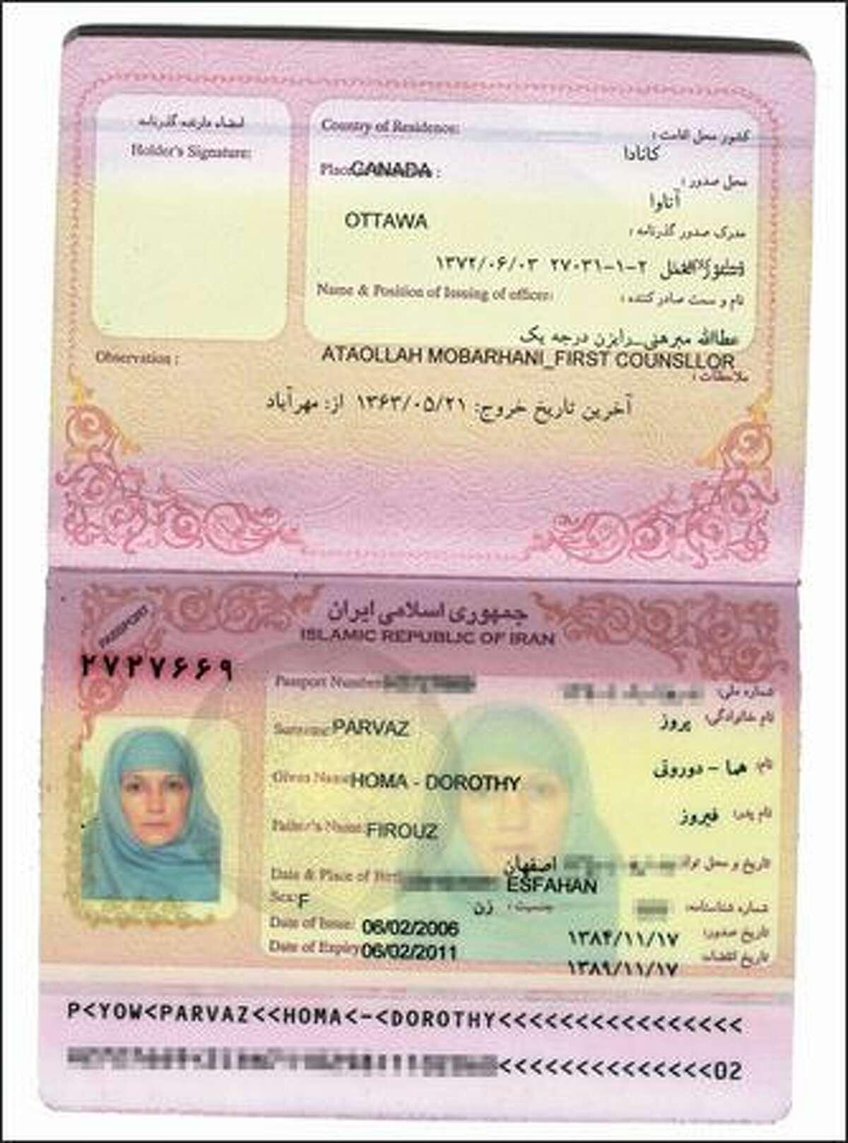 D. Parvaz's Iranian passport.