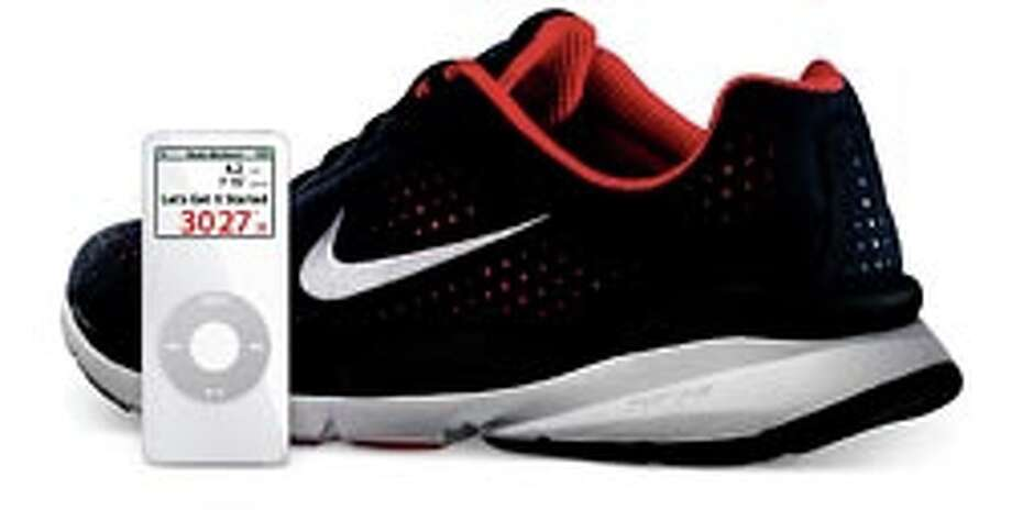 A sensor for this shoe tells your iPod where you've been. Photo: Apple Computer Inc. / NYTNS