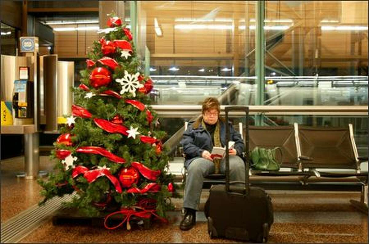 Trees were put back up at Sea-Tac on Monday.