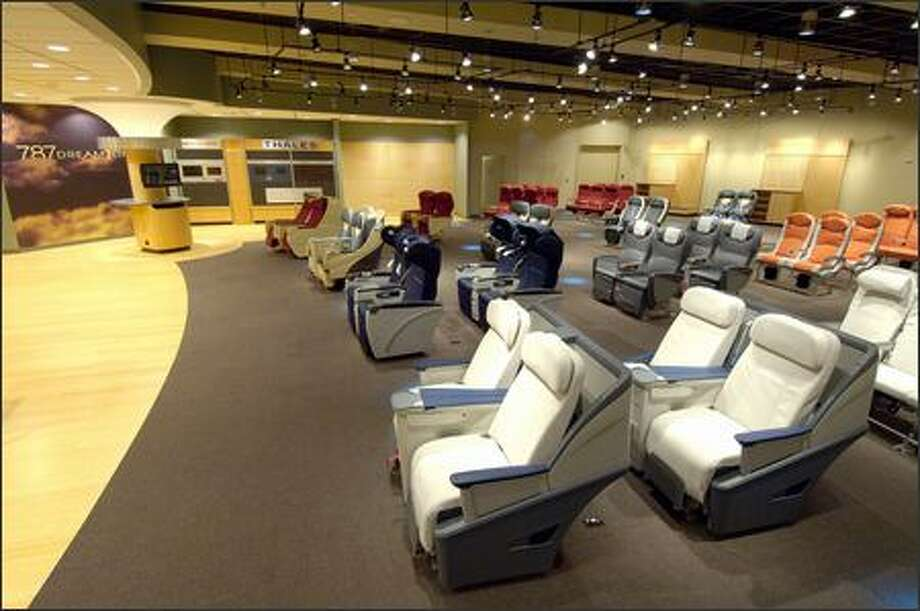 The seat showroom features rows of first-, business- and economy-class seats from 787 suppliers. Photo: / The Boeing Company