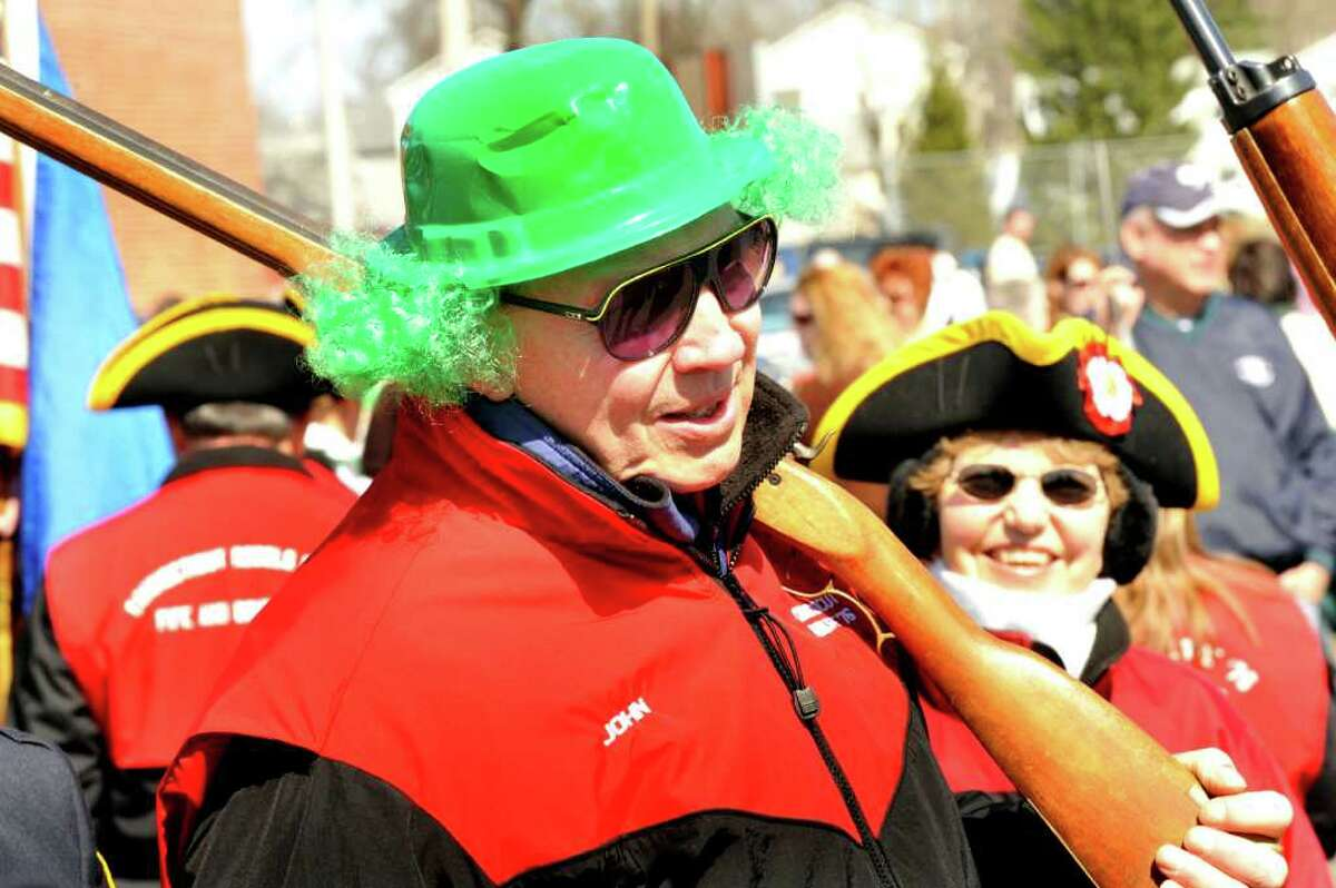 John Wahlers marches with the Conn. Rebels in the Ancient Order of the Hibernian's St. Patrick's Day parade in Danbury, Sunday, March 20, 2011.
