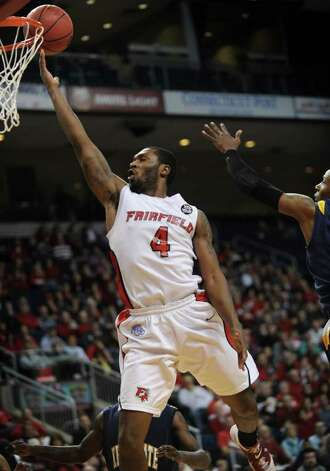 Fairfield University's Yorel Hawkins drives in for a layup during the Stags' second round NIT matchup with Kent State at the Webster Bank Arena at Harbor Yard in Bridgeport on Sunday, March 20, 2011. Photo: Brian A. Pounds / Connecticut Post