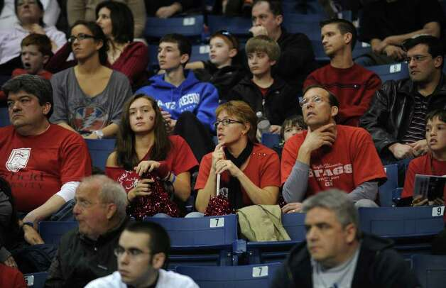 Fairfield University fans watch the Stags' second round NIT loss to Kent State at the Webster Bank Arena at Harbor Yard in Bridgeport on Sunday, March 20, 2011. Photo: Brian A. Pounds / Connecticut Post
