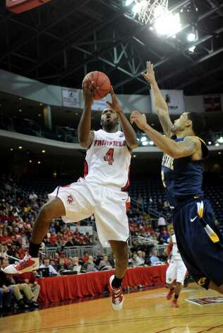 Fairfield University's Yorel Hawkins drives to the basket during the Stags' second round NIT matchup with Kent State at the Webster Bank Arena at Harbor Yard in Bridgeport on Sunday, March 20, 2011. Photo: Brian A. Pounds / Connecticut Post