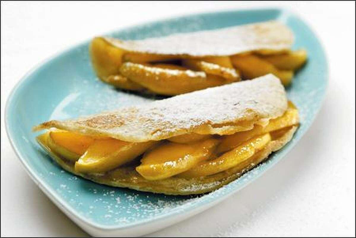 An apple mixture turns tortillas into pies.