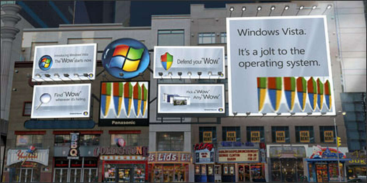 Microsoft's Windows Vista advertising campaign will include billboards and video displays at key intersections in New York and other cities, as depicted in this rendering.