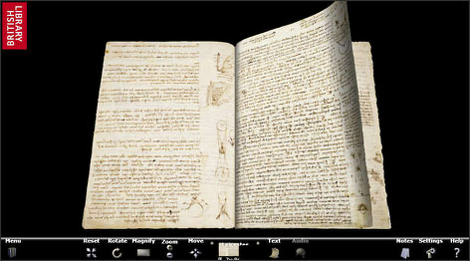 Turn the Pages 2.0 allows users to virtually flip through the pages of Leonardo da Vinci's notebooks.