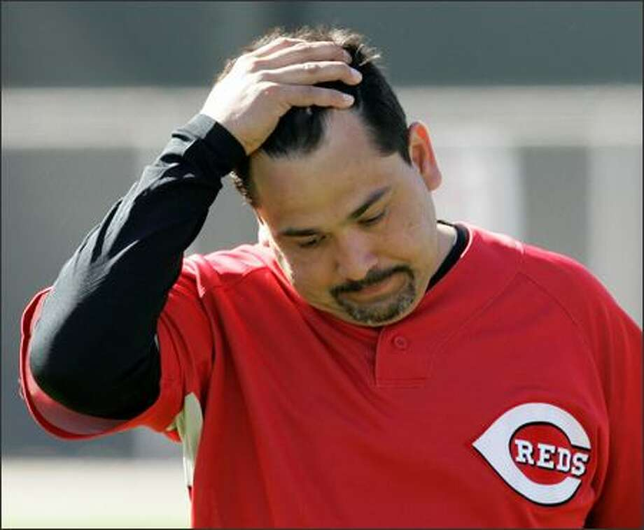 Eddie Guardado, coming off elbow surgery and working to secure a spot on the Cincinnati Reds pitching staff, says he still feels betrayed by Mike Hargrove over the loss of the closer role in Seattle last season.  (AP Photo/Al Behrman) Photo: / Associated Press