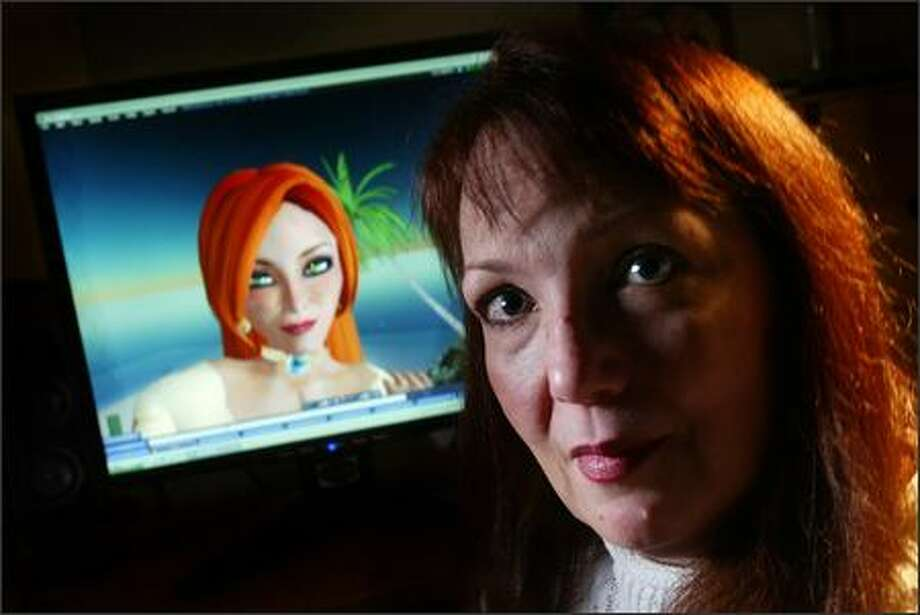 Robin McFarlane of Renton, whose avatar is Melodee Singer, designs and sells clothing on Second Life and is seeing a real-world payday. Photo: Karen Ducey/Seattle Post-Intelligencer