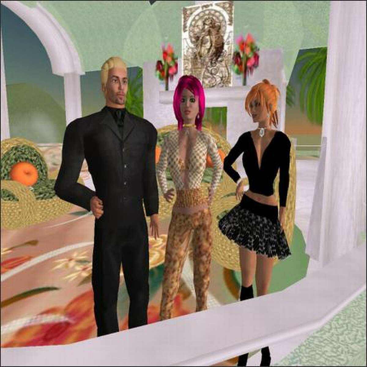 Cooper Priestly, center, visits with Jerry Martin, left, and Melodee Singer in Second Life. Priestly, the avatar of P-I reporter Amy Rolph, is wearing clothes designed by Singer, the avatar of Robin McFarlane of Renton.