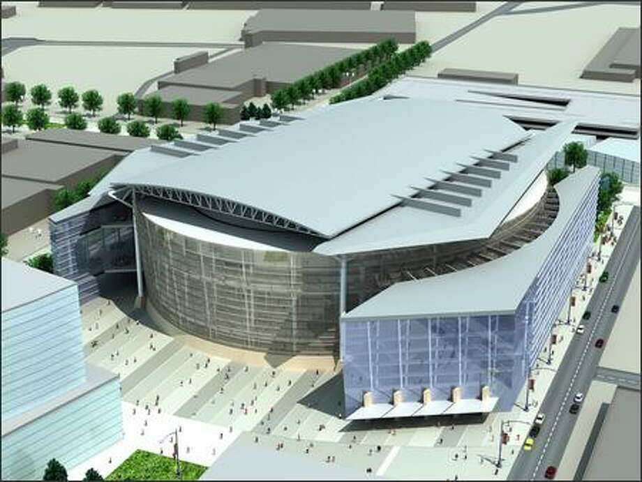 Architectural drawings released by the Sonics on Monday show the exterior of the arena the team has planned for a proposed site in Renton. Photo: / Seattle Sonics