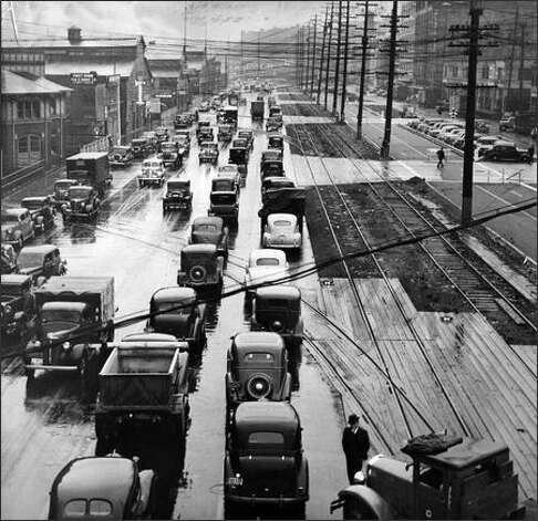 Snarled traffic on Alaskan Way led to the construction of the viaduct. Photo: / P-I File