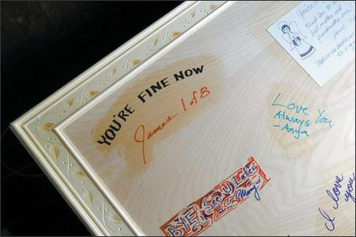 Doris Jean asks that all visitors and guests autograph her pine casket.