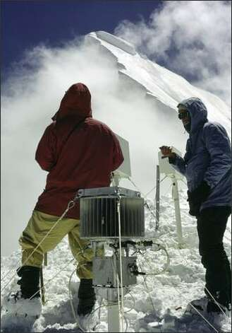 After numerous searches were unable to locate the lost device on Nanda Devi, Robert Schaller climbed in the Himalayas again to install a similar device on the neighboring peak of Nanda Kot. The device, like the lost one, contains plutonium fuel cells to power its transceiver. Photo: / Courtesy Of Robert T. Schaller, M.D.