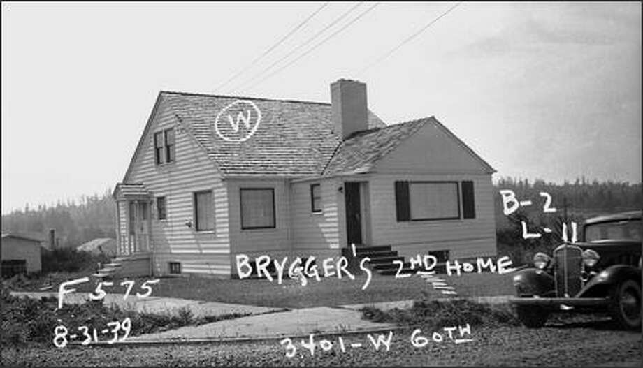 Frank Moore and Sonia Cook's Ballard house as it appeared in 1939. Photo: Washington State Archives
