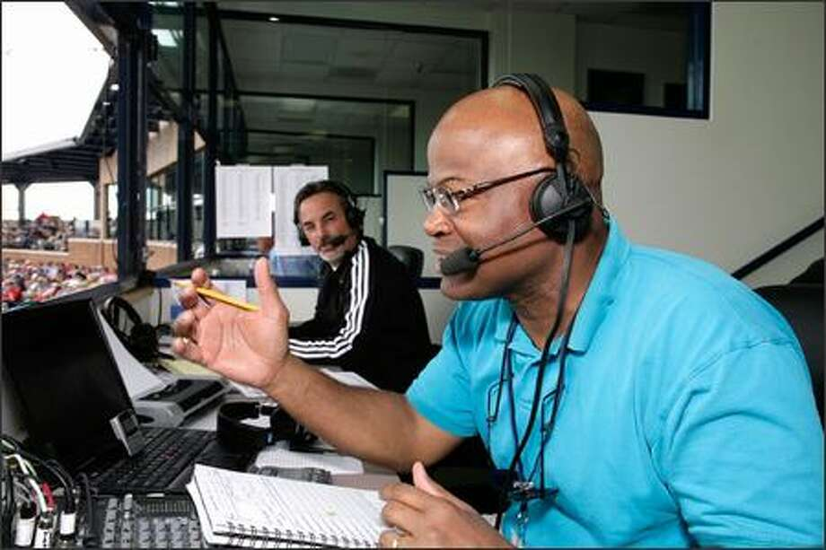 Dave Sims, right, with Rick Rizzs at spring training in Arizona, will share TV play-by-play duties with Dave Niehaus. Rizzs will handle radio exclusively. Photo: / Seattle Mariners
