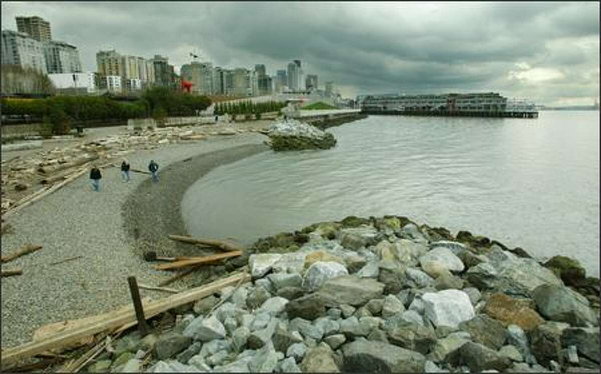 The seawall was removed and a beach was installed on the Seattle waterfront near Myrtle Edwards Park, creating a more fish-friendly shoreline on the heavily industrialized urban waterfront.