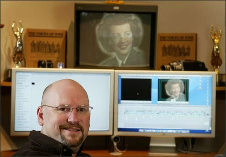 Karl Schmidt of Bristol Productions produced an award-winning documentary about women during World War II in his home office. Photo: Joshua Trujillo/Seattle Post-Intelligencer