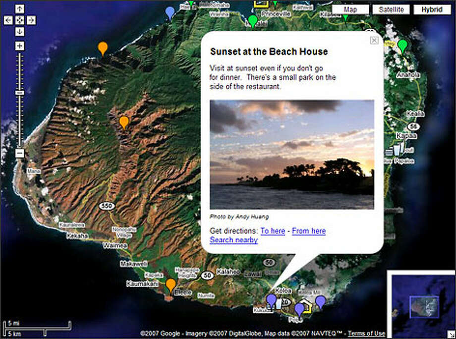 "Users of ""My Maps"" can create custom maps embedded with notes and other content, such as this guide to Kauai, Hawaii."