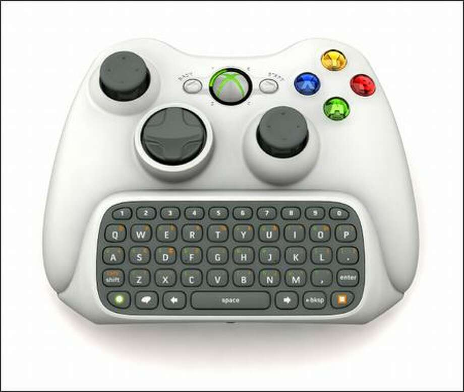 A small keyboard attached to the Xbox 360 controller allows instant messaging between gamers and PCs. Photo: / Microsoft