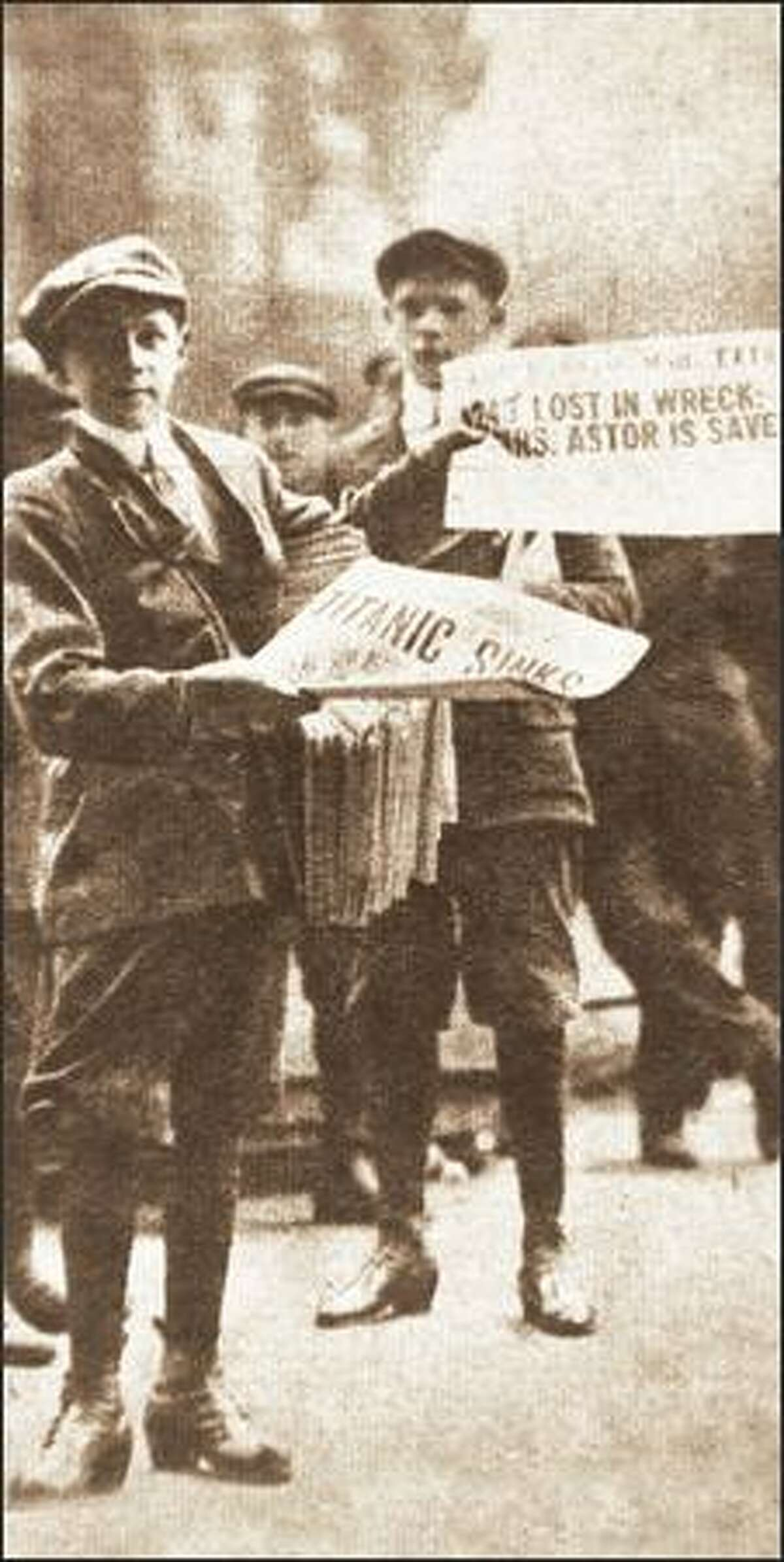 A historical photo shows newsboys selling editions that carried the news of the Titanic's sinking.