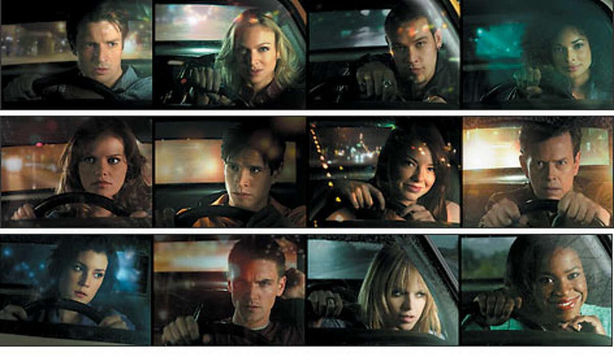 "The stars of ""Drive,"" by row from left: TOP: Nathan Fillion, Kristin Lehman, Kevin Alejandro, Rochelle Aytes. MIDDLE: Mircea Monroe, JD Pardo, Emma Stone, Dylan Baker. BOTTOM: Melanie, Lynskey, Riley Smith, Taryn Manning, Michael Hyatt."