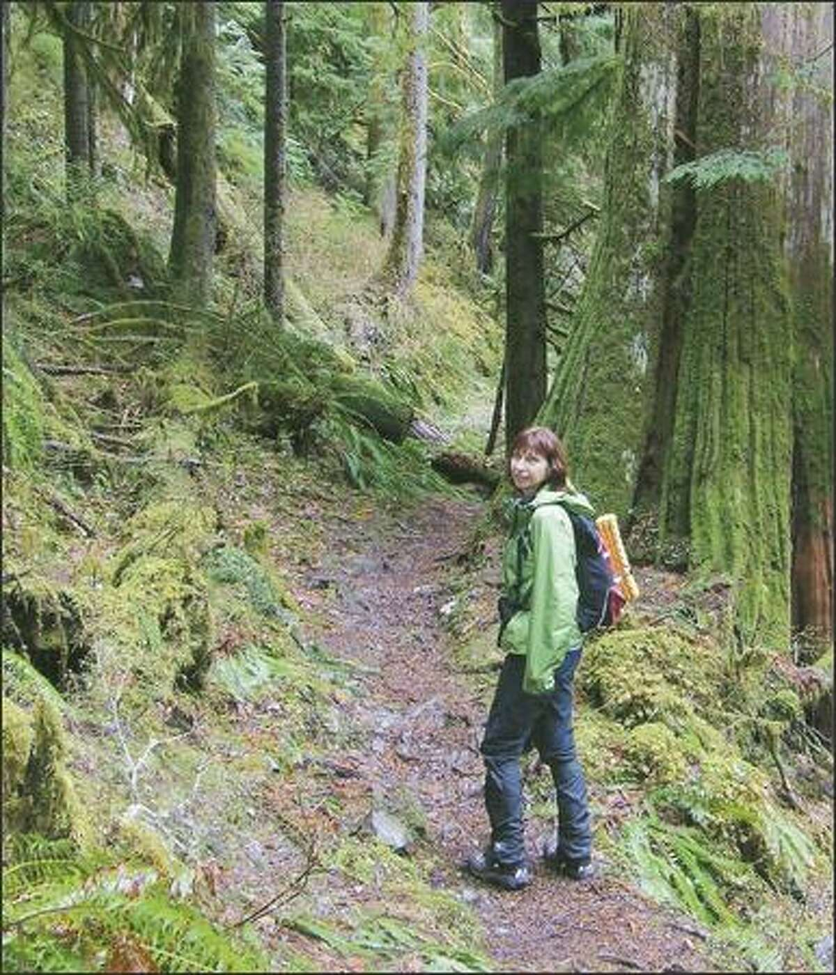 Barbara Eller of Seattle pauses along the Boulder River Trail, a lowland hike near Darrington. A self-described