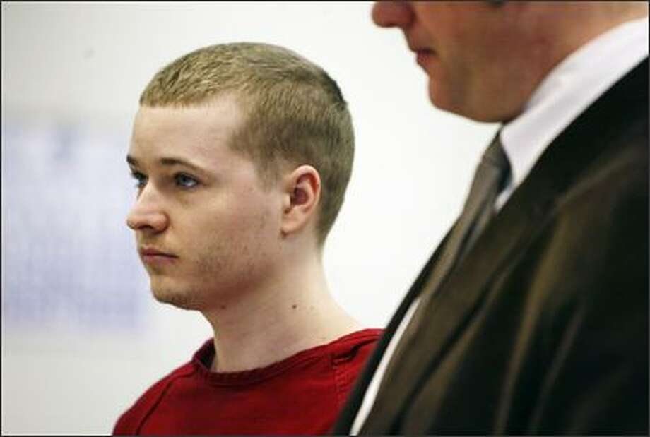 "Christopher Bistryski, who swiped a gun from his boyfriend, a King County sheriff's deputy, and used it to kill a convenience store clerk in 2005, pleads guilty to second-degree murder at the King County Courthouse in Seattle on Monday. Bistryski could face 19 to 27 years in prison for the death of Mohammed-Imad ""Dimitri"" Harb. He will be sentenced May 25 in King County Superior Court. Photo: Andy Rogers/Seattle Post-Intelligencer"