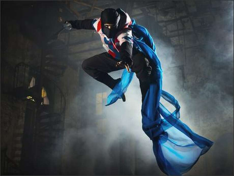 A flying ninja photographed by Chase Jarvis. Jarvis sells his stock images to clients that include Nike, REI and Microsoft. Photo: Scott Eklund/Seattle Post-Intelligencer
