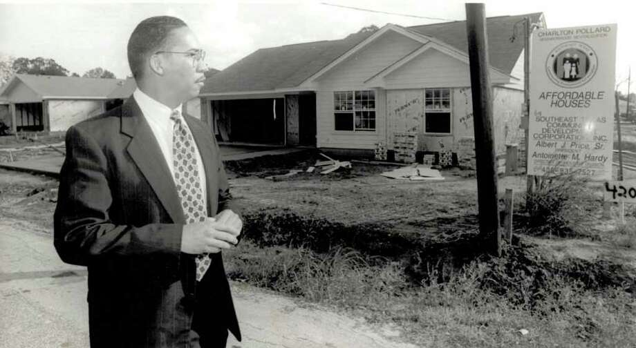 """Richard Chappell, Beaumont Community Development director, shows off new homes in the Charlton-Pollard area around Sabine Pass Avenue and Flower Street."" Enterprise file photo Nov. 1996"