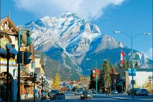The village of Banff offers great restaurants, shopping and a stunning view of majestic mountains.