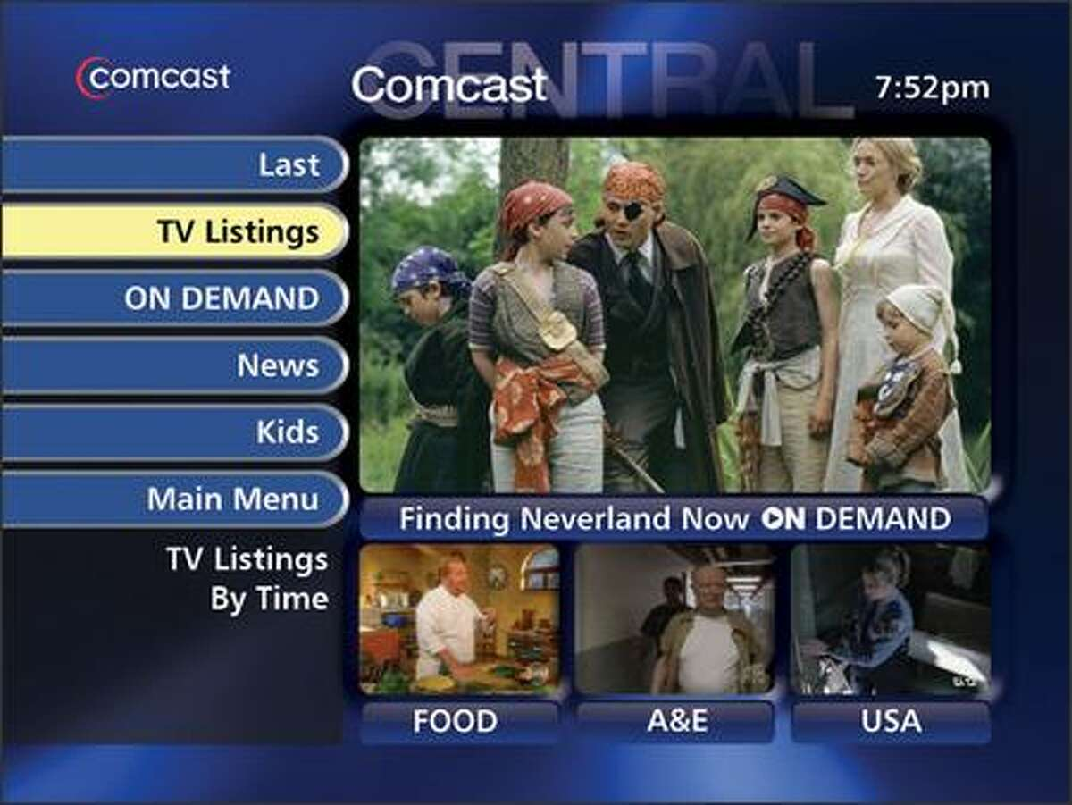 A view of Comcast's GuideWorks on-screen program guide, which will replace Microsoft's TV software in Washington state.