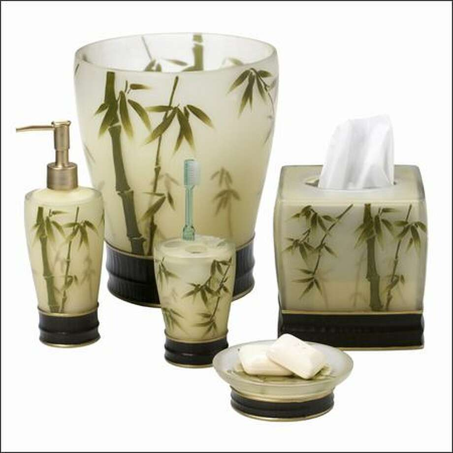 The bamboo motif is branching out across the design scene, as in these in leafy images on toothbrush holders and soap dishes in bathroom collections from Target. Photo: /