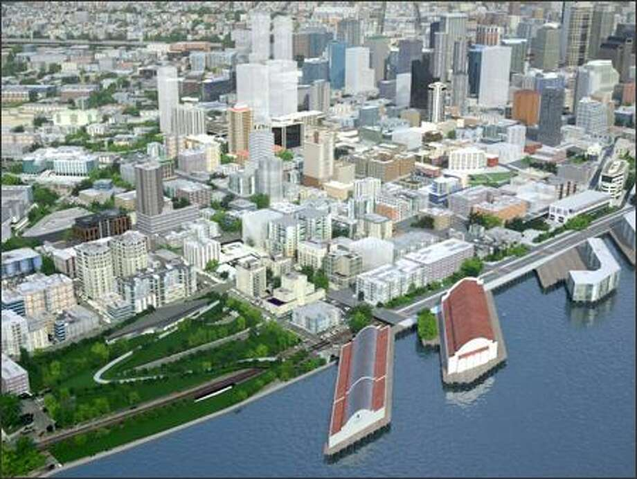 Image from CityScape 2010 - a new virtual reality depiction of downtown Seattle, including buildings planned to rise over the next few years. The project is a collaboration of UrbanCondomimiums.com, Seattle architecture firm Weber + Thompson and Parsons Brinckerhoff. It will be featured at this weekend's Greater Seattle Condo Expo and on UrbanCondominiums.com. Photo: /