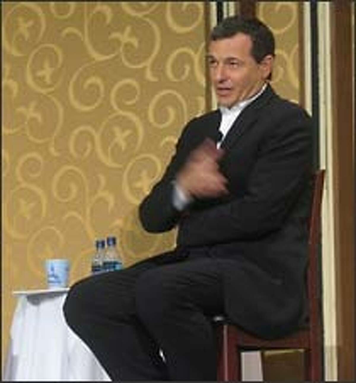 Walt Disney Co. chief executive Robert Iger addresses the Society of American Business Editors and Writers annual conference at the Disneyland Hotel in Anaheim.