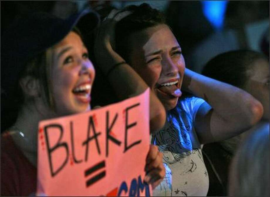 Blaker Girl Lyndsi LaRose and Aleesha Wilson, both 17, react as Jordin Sparks is announced the winner of American Idol, beating out their favorite, Blake Lewis of Bothell. The girls were watching the season finale Wednesday at the Experience Music Project Sky Church. Photo: Mike Urban/Seattle Post-Intelligencer